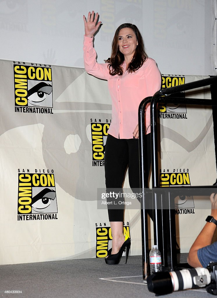 Actress Hayley Atwell walks onstage at the Entertainment Weekly: Women Who Kick Ass panel during Comic-Con International 2015 at the San Diego Convention Center on July 11, 2015 in San Diego, California.