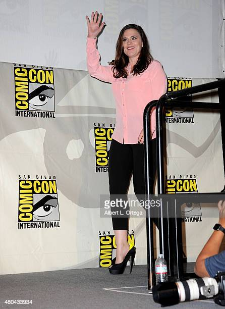 Actress Hayley Atwell walks onstage at the Entertainment Weekly Women Who Kick Ass panel during ComicCon International 2015 at the San Diego...