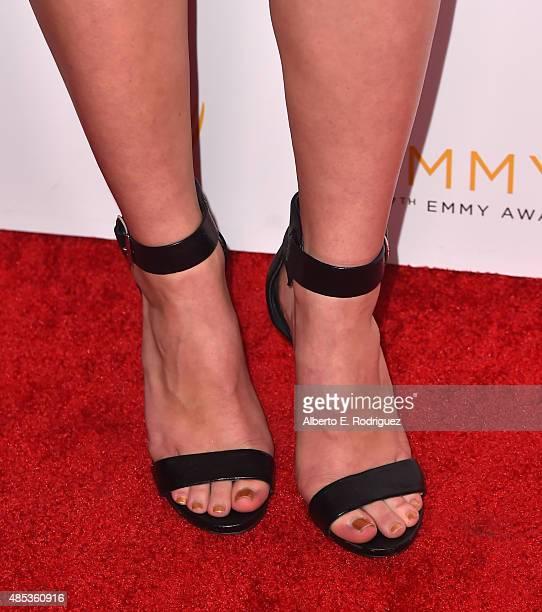 Actress Hayley Erin shoe detail attends a cocktail reception hosted by the Academy of Television Arts Sciences celebrating the Daytime Peer Group at...