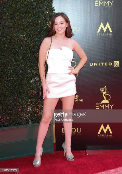 Actress Hayley Faith Negrin attends the 45th Annual Daytime Creative Arts Emmy Awards at the Pasadena Civic Auditorium on April 27 2018 in Pasadena...