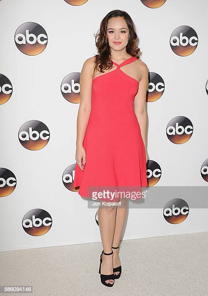 Actress Hayley Orrantia arrives at Disney ABC Television Group Hosts TCA Summer Press Tour at the Beverly Hilton Hotel on August 4, 2016 in Beverly...