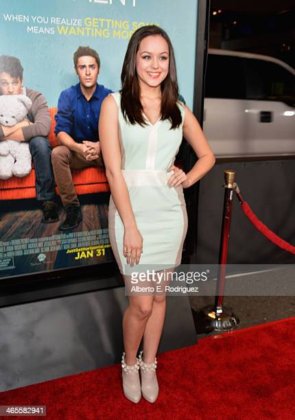 Actress Hayley Orrantia arrives to the premiere of Focus Features' That Awkward Moment at Regal Cinemas LA Live on January 27 2014 in Los Angeles...