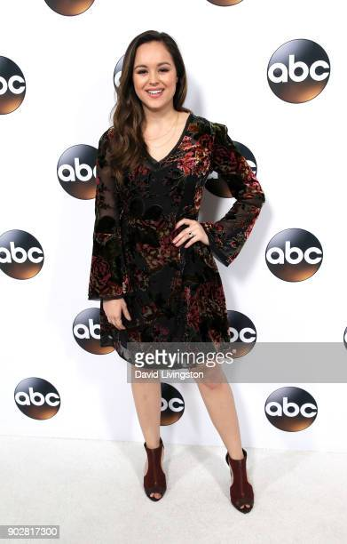 Actress Hayley Orrantia attends Disney ABC Television Group's TCA Winter Press Tour 2018 at The Langham Huntington Pasadena on January 8 2018 in...