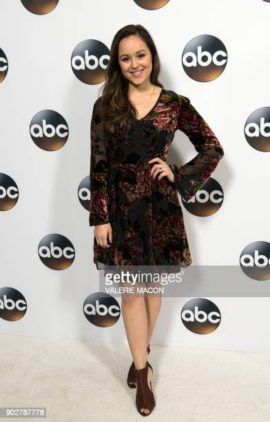 Actress Hayley Orrantia attends the Disney ABC Television TCA Winter Press Tour on January 8 in Pasadena California / AFP PHOTO / VALERIE MACON