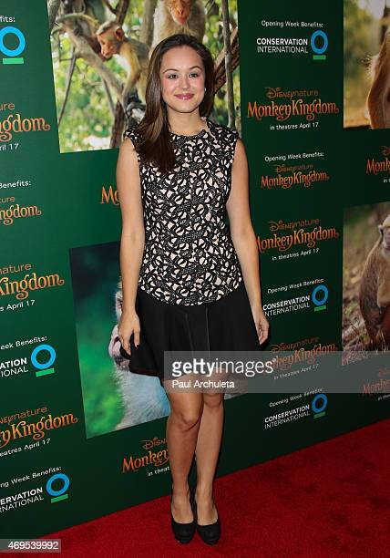 Actress Hayley Orrantia attends the premiere of Monkey Kingdom at the Pacific Theaters at the Grove on April 12 2015 in Los Angeles California