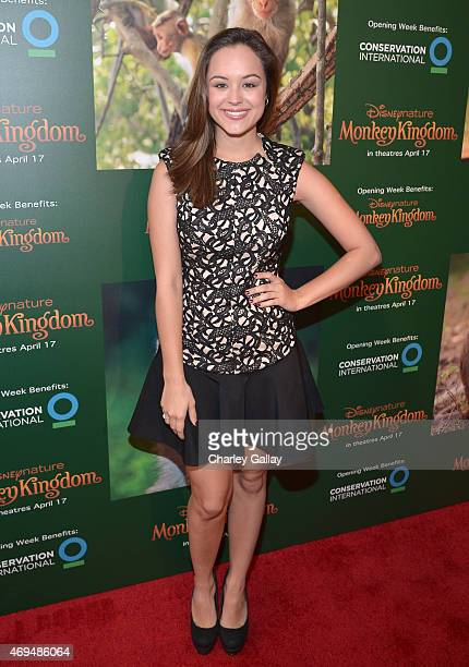 Actress Hayley Orrantia attends the world premiere Of Disney's Monkey Kingdom at Pacific Theatres at The Grove on April 12 2015 in Los Angeles...