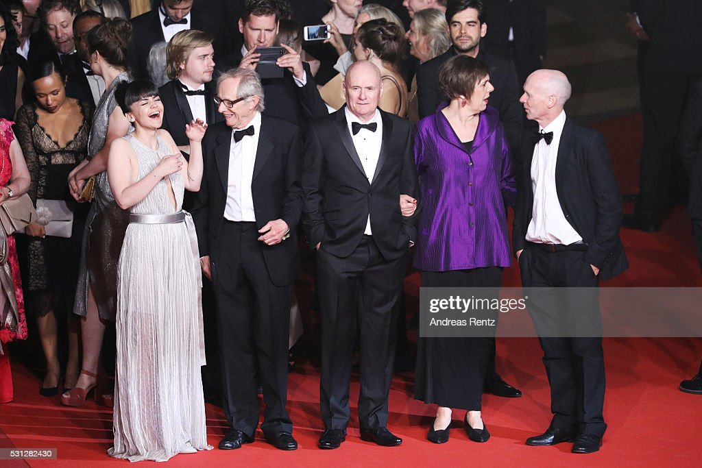 Actress Hayley Squires, director Ken Loach, Actor Dave Johns, actress Rebecca O'Brien and actor Paul Laverty attend the 'I, Daniel Blake' premiere during the 69th annual Cannes Film Festival at the Palais des Festivals on May 13, 2016 in Cannes, France.