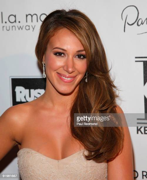 Actress Haylie Duff arrives at Kevan Hall Show at Universal Studios Hollywood on October 17 2009 in Universal City California