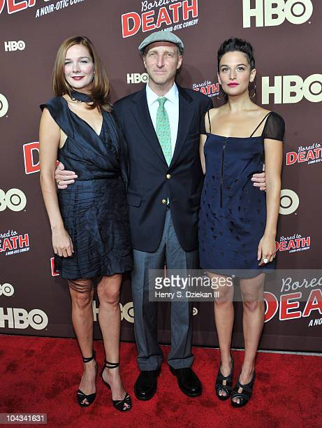 Actress Heather Burns Jonathan Ames and Jenny Slate attend HBO's Bored To Death premiere at Jack H Skirball Center for the Performing Arts on...