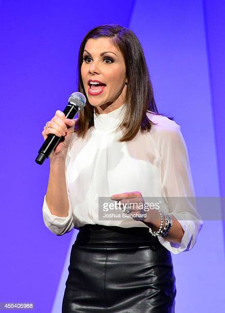 Actress Heather Dubrow speaks onstage during Point Foundation's Voices On Point Gala at the Hyatt Regency Century Plaza on September 13 2014 in Los...