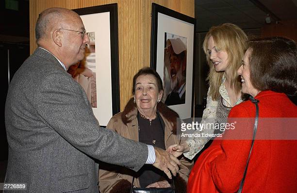 Actress Heather Graham chats with Pancho Kohner Lupita Tovar Kohner and Susan Kohner at the Jack Oakie Lecture on Comedy in Film featuring Paul and...