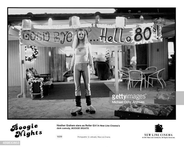 Actress Heather Graham on set of the movie Boogie Nights circa 1997