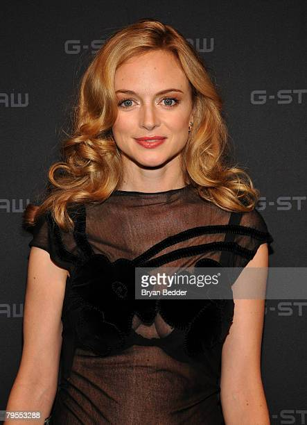 Actress Heather Graham poses backstage at the G Star Fall 2008 fashion show during MercedesBenz Fashion Week Fall 2008 at Gotham Hall on February 5...