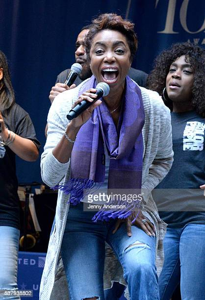 Actress Heather Headley performs onstage during Stars in the Alley presented by United Airlines at Shubert Alley on June 3 2016 in New York City