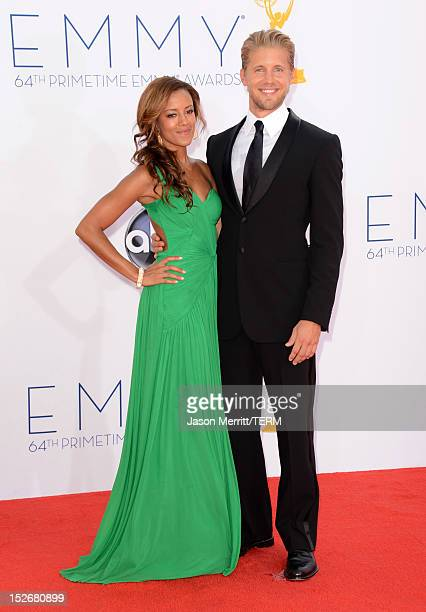 Actress Heather Hemmens and actor Matt Barr arrive at the 64th Primetime Emmy Awards at Nokia Theatre LA Live on September 23 2012 in Los Angeles...