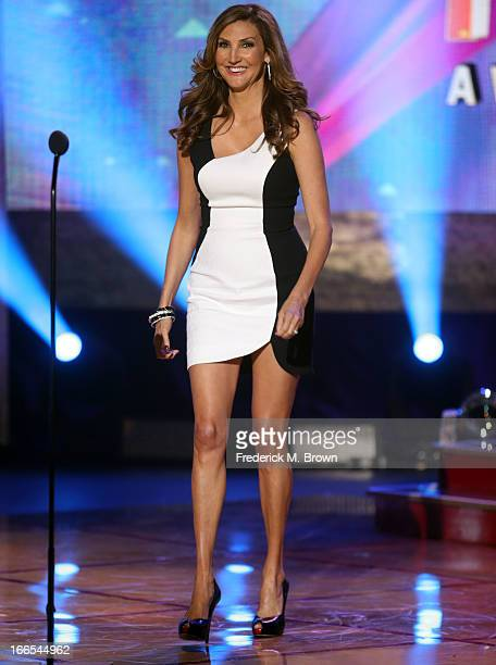 Actress Heather McDonald speaks onstage during the 2013 NewNowNext Awards at The Fonda Theatre on April 13 2013 in Los Angeles California