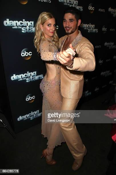 Actress Heather Morris and dancer Alan Bersten attend 'Dancing with the Stars' Season 24 at CBS Televison City on April 3 2017 in Los Angeles...