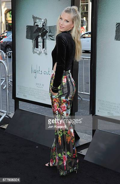 Actress Heather Morris arrives at the Los Angeles Premiere Lights Out at TCL Chinese Theatre on July 19 2016 in Hollywood California