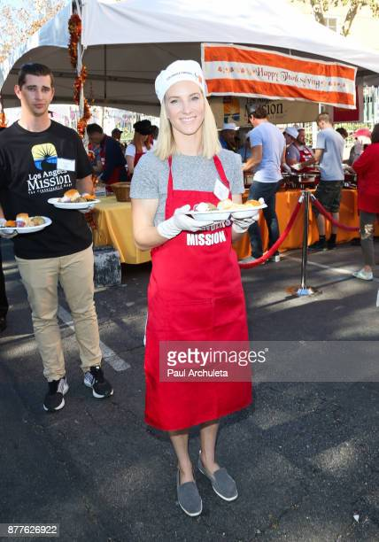 Actress Heather Morris attends the Thanksgiving Meal For The Homeless event at The Los Angeles Mission on November 22 2017 in Los Angeles California
