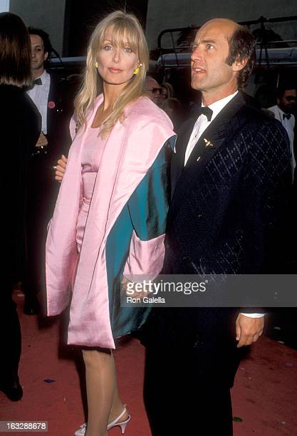 Actress Heather Thomas and date Harry M Brittenham attend the Celebration of Tradition A Gala Event Gathering Warner Bros Stars on June 20 1990 at...