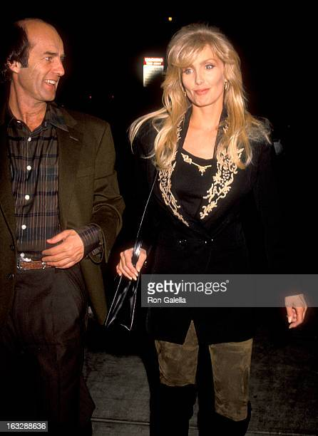 Actress Heather Thomas and date Harry M Brittenham on November 10 1990 dining at Spago in West Hollywood California