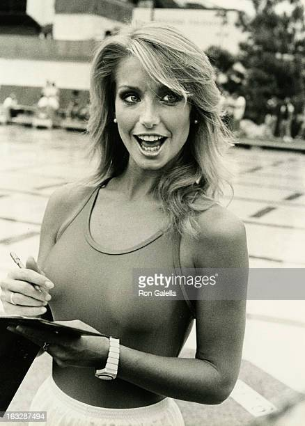 Actress Heather Thomas attending the taping of Battle of the Network Stars on October 8 1983 at Pepperdine University in Malibu California
