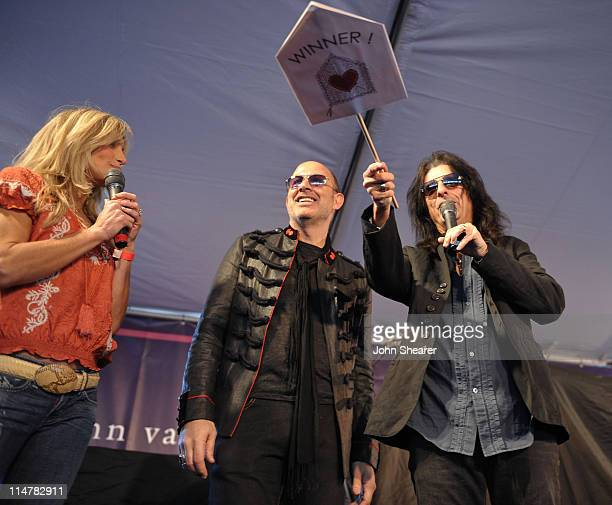 Actress Heather Thomas designer John Varvatos and musician Alice Cooper speak at the 7th annual Stuart House Benefit held by John Varvatos and...