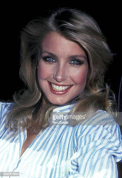 Actress Heather Thomas on August 27 1983 dining at Spago in West Hollywood California