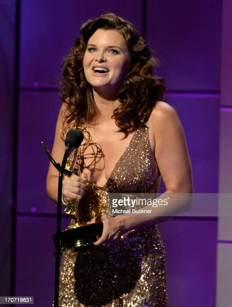 Actress Heather Tom accepts the Outstanding Lead Actress in a Drama Series award for 'The Bold and the Beautiful' onstage during the 40th Annual...