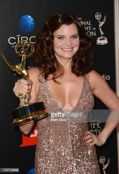 Actress Heather Tom poses with the Outstanding Lead Actress In A Drama Series award for 'The Bold and the Beautiful' in the press room during The...
