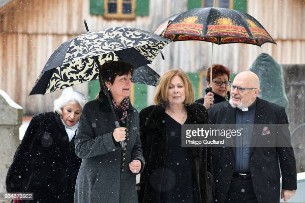 Actress Heide Keller arrives for the memorial service for Siegfried Rauch at St Ulrich Church on March 19 2018 in Habach near Murnau Germany German...