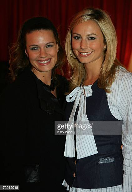 Actress Heidi Androl and TV personality Stacy Keibler attend Mercedes Benz Fashion Week at Smashbox Studios on October 18 2006 in Culver City...