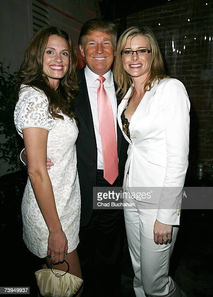Actress Heidi Androl Donald Trump and Kristine Lefebvre attend The Apprentice party hosted by Donald Trump at Le Duex on April 22 2007 in Los Angeles...
