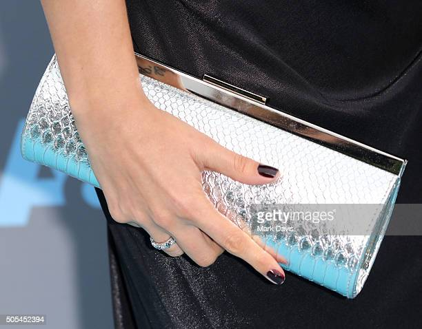 Actress Heidi Balvanera handbag detail attend the 21st Annual Critics' Choice Awards at Barker Hangar on January 17 2016 in Santa Monica California