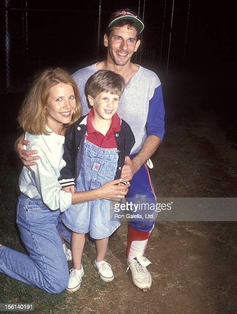 Actress Heidi Bohay Actor Michael Spound and son attend the Hollywood AllStars vs The Bolton Bombers Charity Softball Game on August 7 1993 at La...