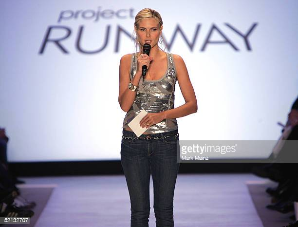 Actress Heidi Klum appears on the runway at the Project Runway Fall 2005 show during the Olympus Fashion Week at Bryant Park February 4 2005 in New...