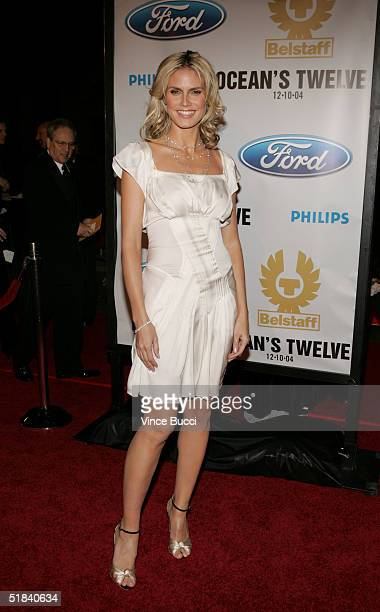 Actress Heidi Klum arrives at the Warner Bros premiere of the film Ocean's Twelve at Grauman's Chinese Theatre December 8 2004 in Hollywood California
