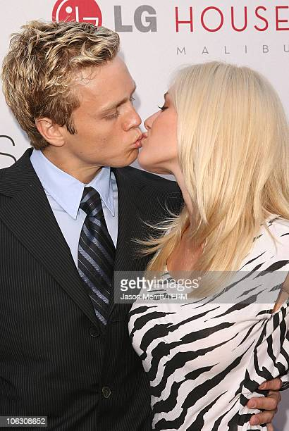 Actress Heidi Montag and fiance Spencer Pratt arrive to the premiere party of 'The Hills Season 3' at the LG Malibu house on August 8 2007 in Malibu...