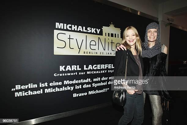 Actress Heike Makatsch and Veruschka von Lehndorff arrive at the Michalsky Style Night during the Mercedes-Benz Fashion Week Berlin Autumn/Winter...