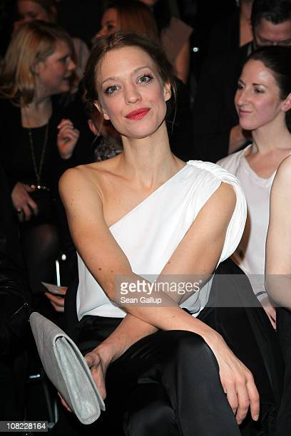 Actress Heike Makatsch looks on prior to the Kaviar Gauche Show during the Mercedes Benz Fashion Week Autumn/Winter 2011 at Bebelplatz on January 21...