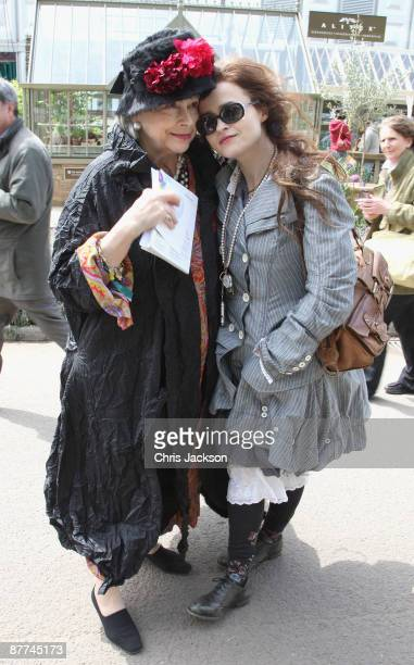 Actress Helana Bonham-Carter and her mother Elena pose for a photograph during the Press and VIP preview day at Chelsea Flower Show at Royal Hospital...