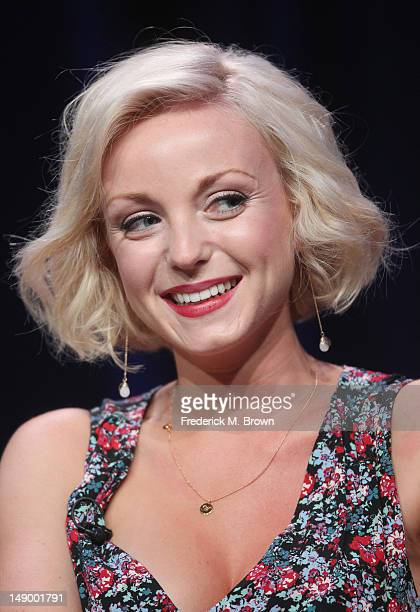 Actress Helen George speaks onstage at the 'Call the Midwife' panel during day 1 of the PBS portion of the 2012 Summer TCA Tour held at the Beverly...