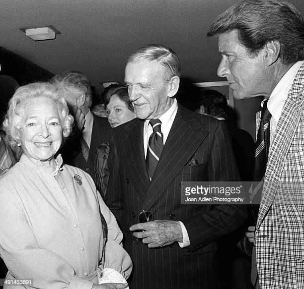 Actress Helen Hayes with dancer actor singer and choreographer Fred Astaire and actor Efrem Zimbalist Jr attend a showing of their television movie...