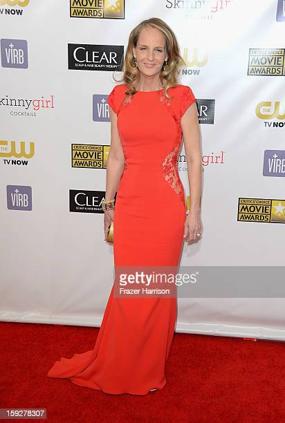 Actress Helen Hunt arrives at the 18th Annual Critics' Choice Movie Awards at Barker Hangar on January 10 2013 in Santa Monica California