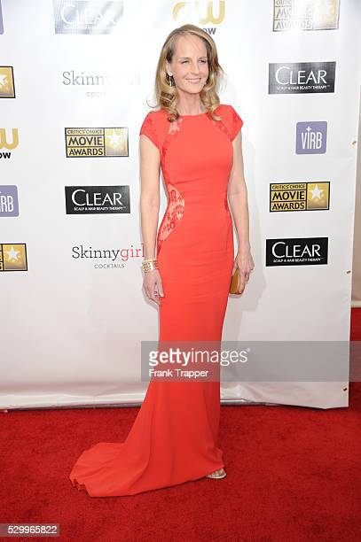 Actress Helen Hunt arrives at the 18th Annual Critics' Choice Movie Awards held at Barker Hanger in Santa Monica California