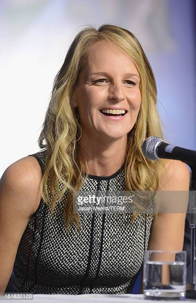 Actress Helen Hunt speaks onstage at The Sessions Press Conference during the 2012 Toronto International Film Festival at TIFF Bell Lightbox on...