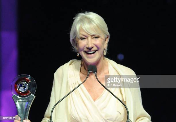Actress Helen Mirren accepts the Career Achievement Award at the CinemaCon awards ceremony held at The Colosseum at Caesars Palace during CinemaCon...