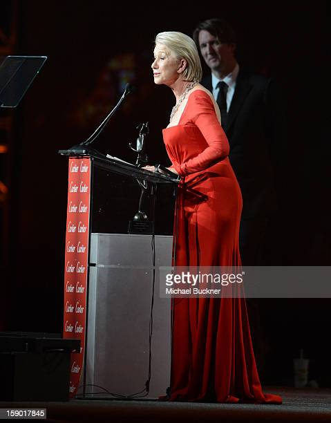 Actress Helen Mirren accepts the International Star Award onstage during the 24th annual Palm Springs International Film Festival Awards Gala at the...