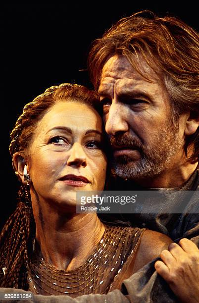 Actress Helen Mirren and actor Alan Rickman perform in William Shakespeare's Antony and Cleopatra at the Royal National Theatre