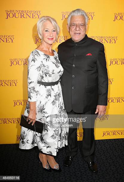 "Actress Helen Mirren and actor Om Puri attend the UK Gala screening of ""The Hundred Foot Journey"" at The Curzon Mayfair on September 3, 2014 in..."
